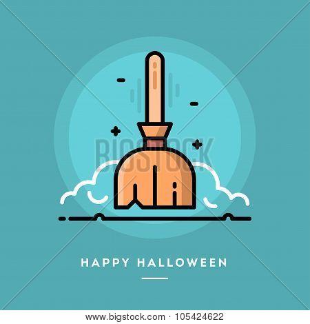Floating Broom Icon, Flat Design Thin Line Halloween Banner
