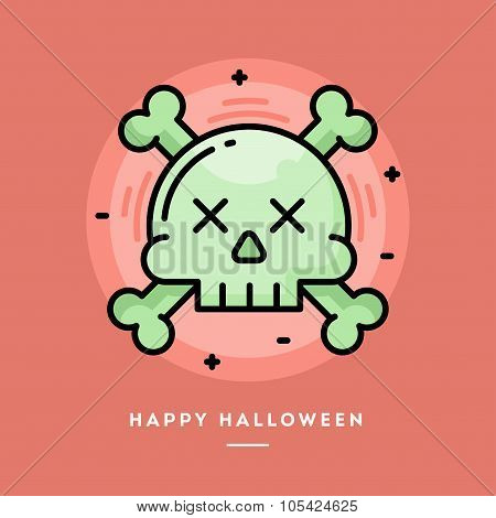 Skull With Crossed Bones Icon, Flat Design Thin Line Halloween Banner