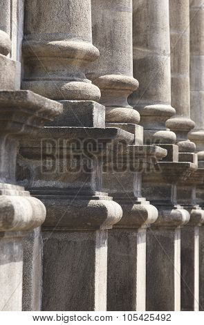 Classical Stone Columns On A Chuch Entrance Portico
