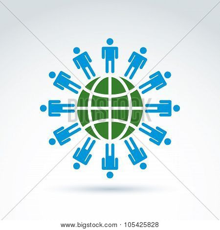 Green Earth And Mankind Symbolic Icon, Vector Conceptual Unusual Symbol For Your Design.