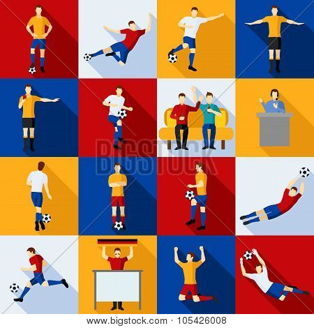 Soccer Players Icons  Flat Set