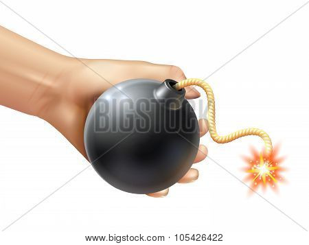 Hand Holding A Bomb Illustration