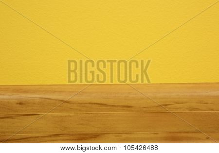 Wooden Skirting Board On Yellow Wall In The Room.horizontal.