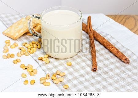 Soy Milk With Soy Bean And Cracker