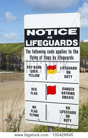 Lifeguards Notice At Ballybunion Beach