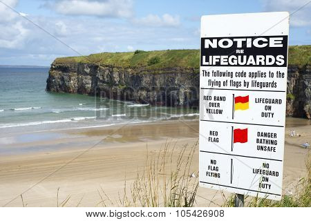 Lifeguards Notice At Ballybunion