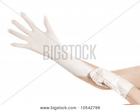 Putting On Rubber Gloves