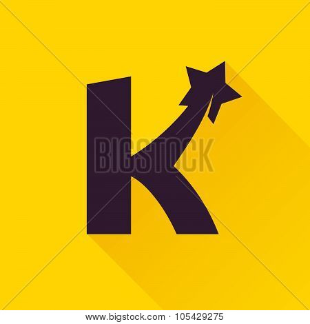 K Letter With Star.