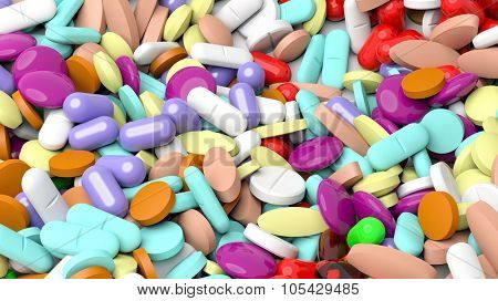 Pile of various colorful pills background.