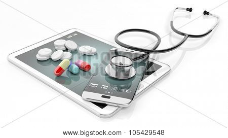 Pills and stethoscope on smartphone and tablet, isolated on white background.
