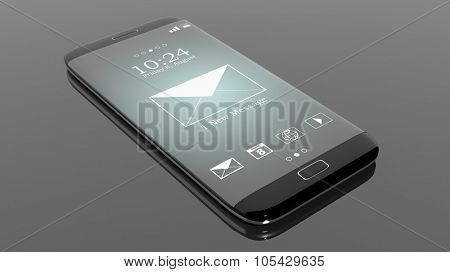 Black smartphone edge with New Message notification on screen, isolated on black.