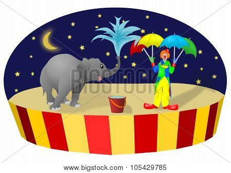 Circus elephant&clown