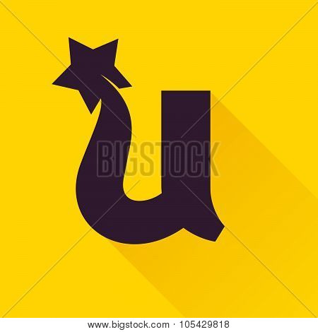 U Letter With Star.