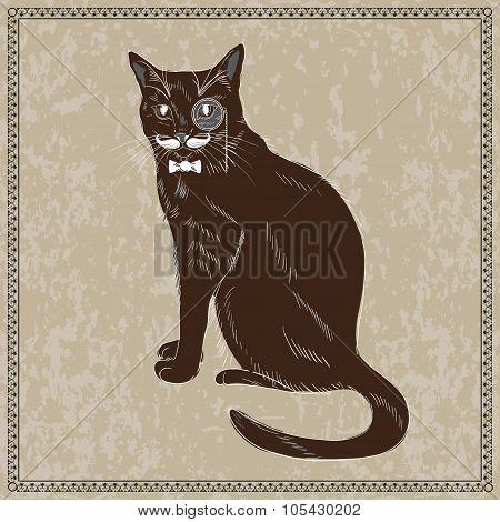 Cute Hand Drawn Gentleman Cat in Bow Tie Monocle.