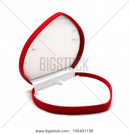 Red Jewelry Box On White Background