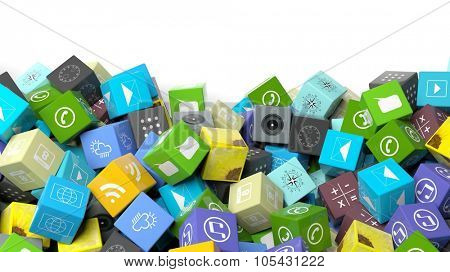 Various apps in shape of a cube, with copy-space on white background.