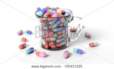 Transparent coffee mug full of pills,isolated on white background.