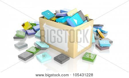 Carton box with beveled square apps, isolated on white background.