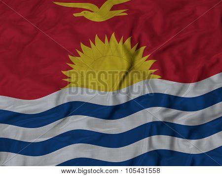 Closeup of ruffled Kiribati flag