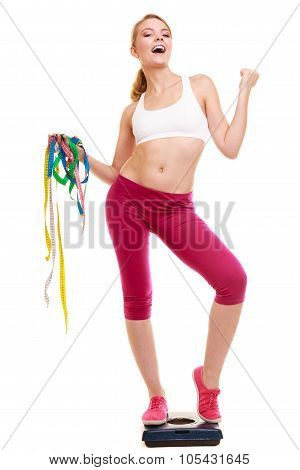 Woman Clenching Fists Measuring On Weighing Scale.
