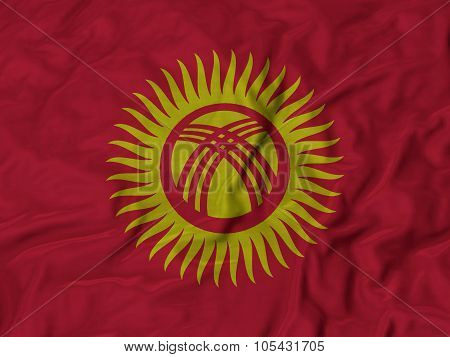Closeup of ruffled Kyrgyzstan flag