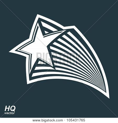 Astronomy Conceptual Illustration, Pentagonal Comet Star, Vector Celestial Object