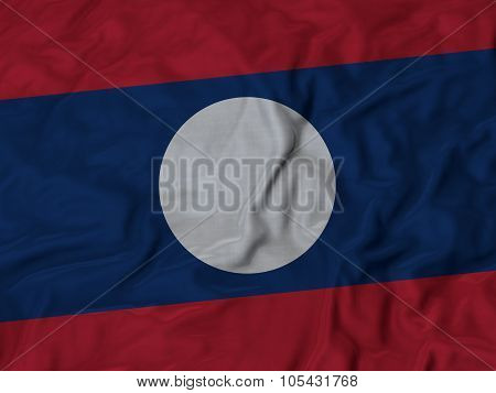 Closeup of ruffled Laos flag