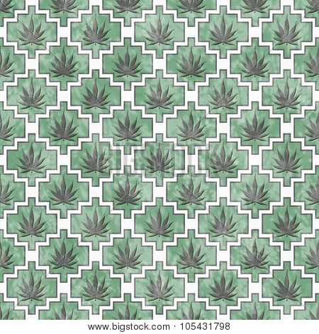 Green, Gray And White Marijuana Tile Pattern Repeat Background