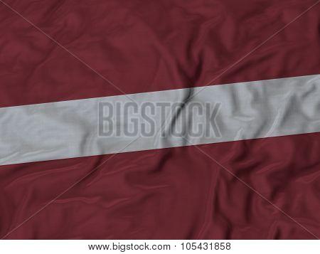 Closeup of ruffled Latvia flag