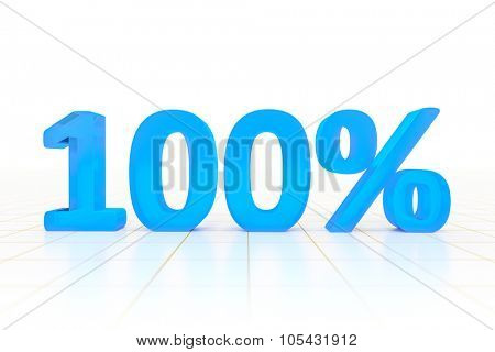 A 100 percent sign in a white background