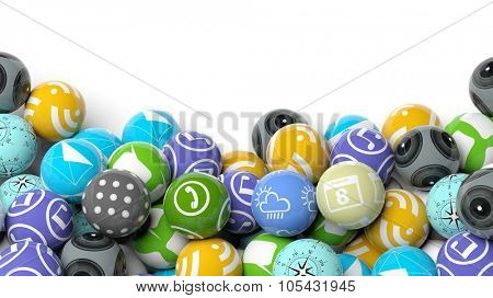 Various apps in shape of a ball, with copy-space on white background.