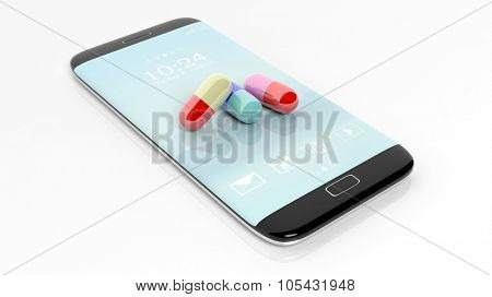 Colorful caplets on smartphone screen, isolated on white background