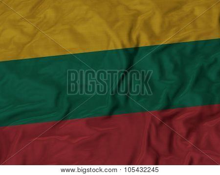 Closeup of ruffled Lithuania flag