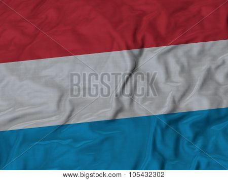 Closeup of ruffled Luxembourg flag
