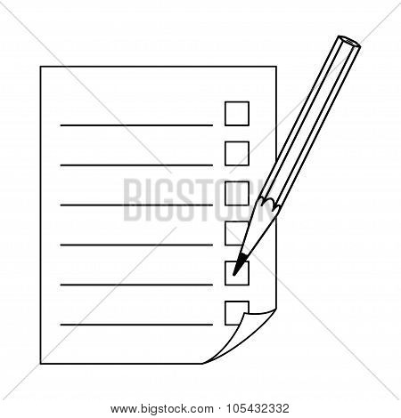 Pencil and a sheet with a list.