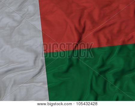 Closeup of ruffled Madagascar flag
