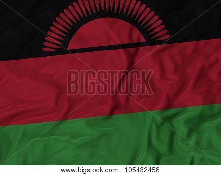 Closeup of ruffled Malawi flag