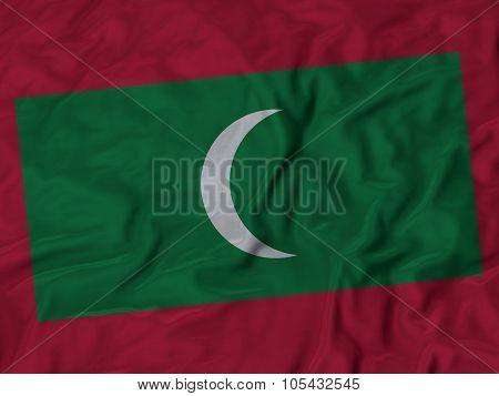 Closeup of ruffled Maldives flag