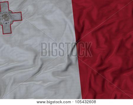 Closeup of ruffled Malta flag