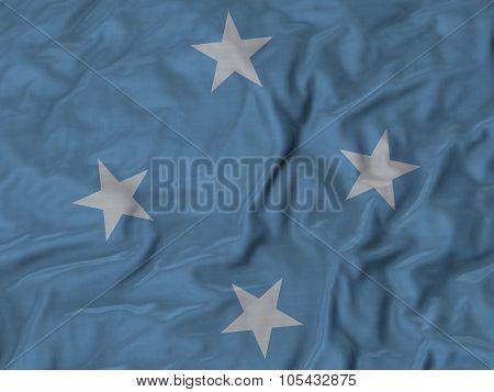 Closeup of ruffled Micronesia flag