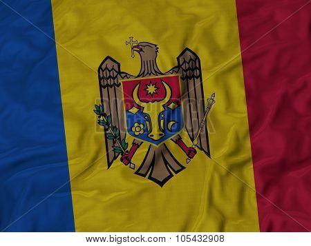 Closeup of ruffled Moldova flag