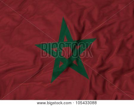 Closeup of ruffled Morocco flag