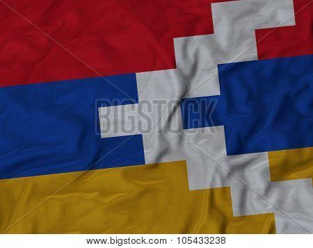Closeup of ruffled Nagorno-Karabakh flag