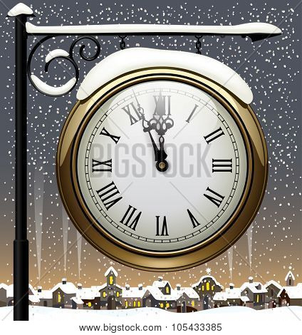 Vintage street clock hanging on forged brackets against the winter old city. New Year sign. Vector Illustration