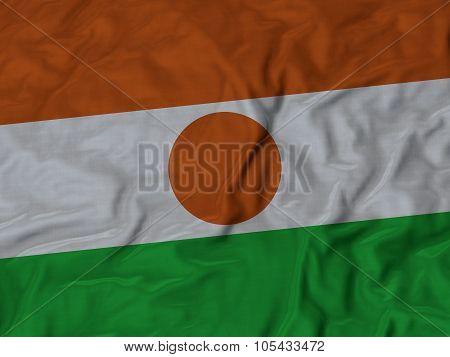 Closeup of ruffled Niger flag