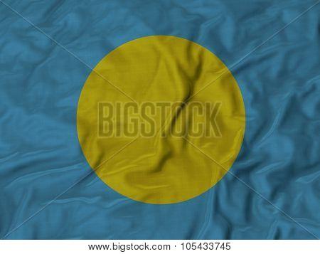 Closeup of ruffled Palau flag