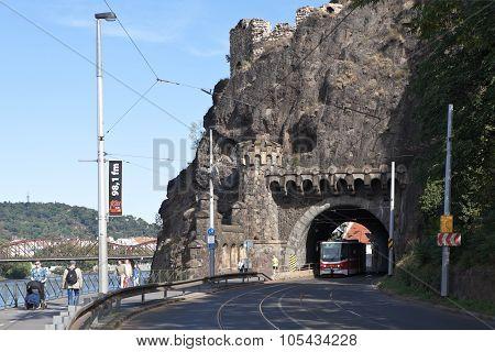 PRAGUE, CZECH REPUBLIC-SEPTEMBER 05, 2015: Photo of Visegrad tunnel.