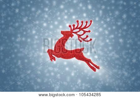 Crimson Red Reindeer Moose Jumping On Snow Background
