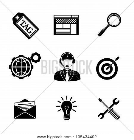 Set of SEO icons - target with arrow, tag, world, magnifier, mail, support, idea, instruments, site.