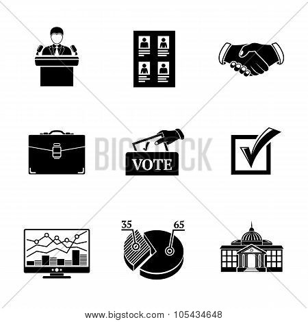 Set of ELECTION icons  - votebox, handshake, portfolio, vote list, speaking man, infographics, check